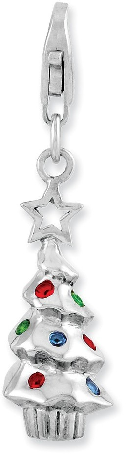 Rhodium-Plated Sterling Silver Multicolor Glass Tree w/ Lobster Clasp Charm