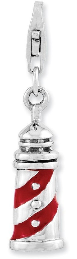 Rhodium-Plated Sterling Silver 3-D Enameled Lighthouse w/ Lobster Clasp Charm