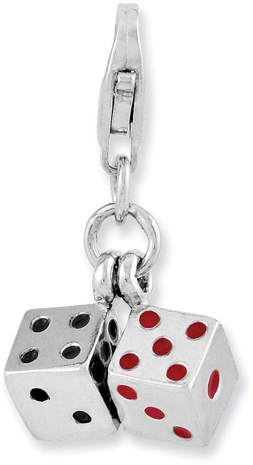 Rhodium-Plated Sterling Silver 3-D Enameled Pair Of Dice w/ Lobster Clasp Charm