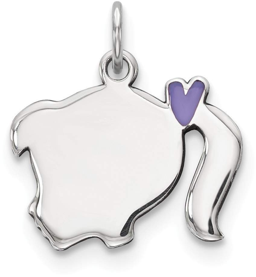 Sterling Silver Purple Enamel Left Facing Girl Head Disc Charm QM538