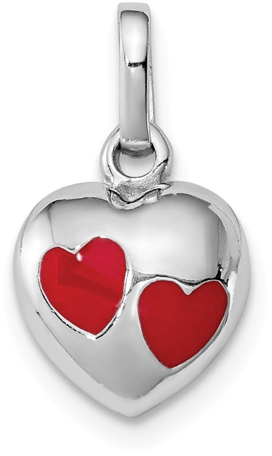 Rhodium-Plated Sterling Silver Child's Red Enameled Heart Pendant
