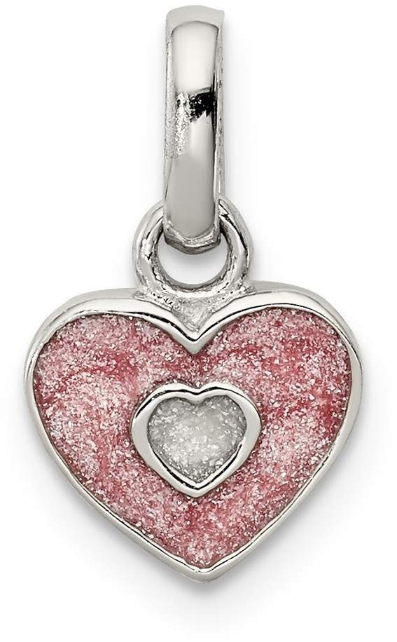 Rhodium-Plated Sterling Silver Child's Pink Glittered Enamel Heart Pendant