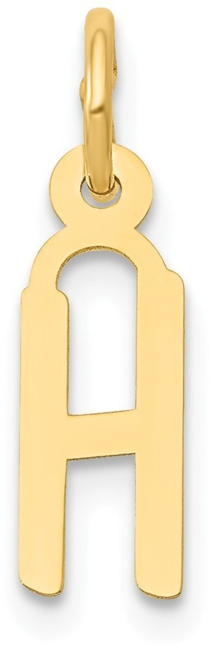 14K Yellow Gold Small Slanted Block Initial H Charm