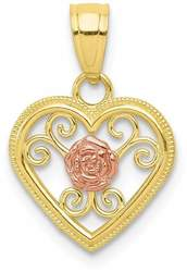 Small Cutout Two-Tone 10K Yellow & Rose Gold Heart w/ Rose Flower Charm