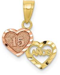 Small Two-Tone 10K Yellow & Rose Gold 15 Anos Quinceanera Charm