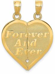 14K Yellow Gold Reversible Forever & Ever Break-Apart Heart Pendant