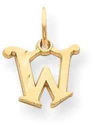 14K Yellow Gold Solid Satin Shiny-Cut Fancy Initial W Charm