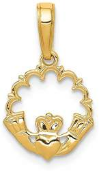 14K Yellow Gold Polished Claddagh Pendant K1529