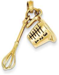 14K Yellow Gold 3-D Black Enameled Measuring Cup & Whisk Pendant