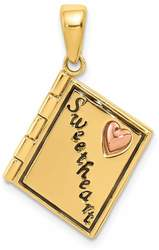 14K Yellow & Rose Gold 3-D Moveable Sweetheart Book Pendant