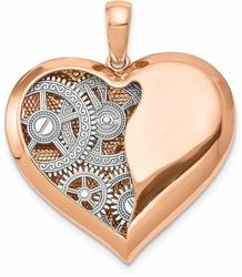 14K White & Rose Gold Polished Gears Inside Heart Pendant