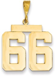 14K Yellow Gold Large Polished Number 66 Charm