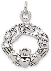 Sterling Silver Antiqued Claddagh Pendant QC3873