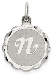 Sterling Silver Brocade-Like Initial N Charm QC4161N