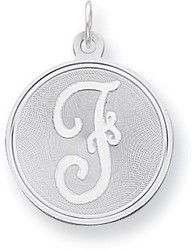 Sterling Silver Brocade-Like Initial F Charm QC4162F