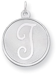 Sterling Silver Brocade-Like Initial T Charm QC4162T