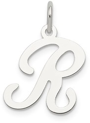 Sterling Silver Stamped Initial R Charm