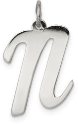 Sterling Silver Large Script Initial N Charm
