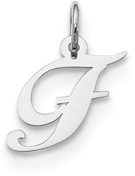 Sterling Silver Small Fancy Script Initial F Charm
