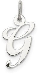 Sterling Silver Small Fancy Script Initial G Charm