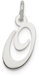 Sterling Silver Small Fancy Script Initial O Charm