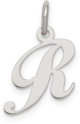 Sterling Silver Small Fancy Script Initial R Charm