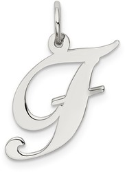 Sterling Silver Medium Fancy Script Initial F Charm