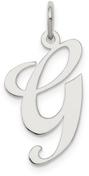 Sterling Silver Large Fancy Script Initial G Charm