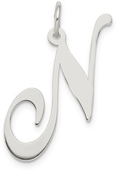 Sterling Silver Large Fancy Script Initial N Charm