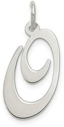 Sterling Silver Large Fancy Script Initial O Charm
