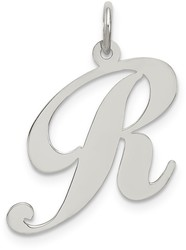 Sterling Silver Large Fancy Script Initial R Charm
