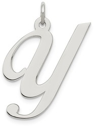 Sterling Silver Large Fancy Script Initial Y Charm