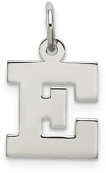 Sterling Silver Small Block Initial E Charm