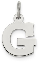Sterling Silver Small Block Initial G Charm