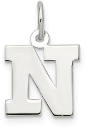 Sterling Silver Small Block Initial N Charm