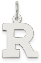 Sterling Silver Small Block Initial R Charm