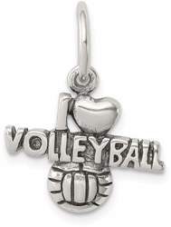 Sterling Silver Antiqued I (Heart) Volleyball Charm