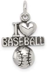 Sterling Silver Antiqued I (Heart) Baseball Charm