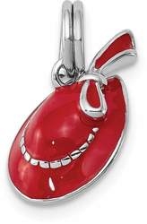 Rhodium-Plated Sterling Silver Red Hat Charm