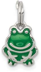 Sterling Silver Green Enameled Frog Charm