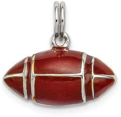 Sterling Silver 3D Brown Enameled Football Charm
