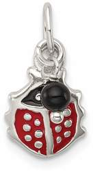 Sterling Silver Red Enameled Ladybug w/ Bead Charm
