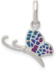 Sterling Silver Enameled Butterfly Charm QC6868