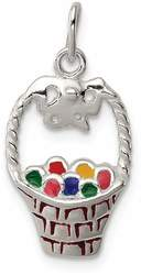 Sterling Silver Enameled Easter Basket Charm QC7173