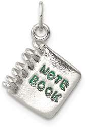 Sterling Silver Note Book Charm