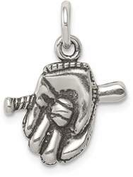 Sterling Silver Antiqued Baseball Glove/Bat Charm