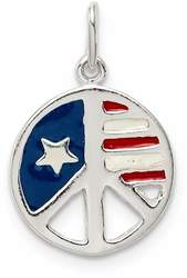 Sterling Silver Polished Enamel American Flag Peace Sign Charm