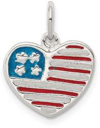 Sterling Silver Polished Enamel American Flag Heart Charm