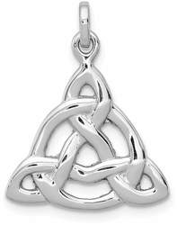 Rhodium-Plated Sterling Silver Polished Celtic Symbol Pendant QC8667