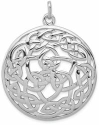 Rhodium-Plated Sterling Silver Polished Celtic Pendant QC8670
